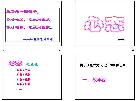 中考话题作文:心态ppt