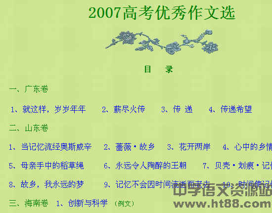 下载首页 中学作文 作文素材  资源简介:  2007高考优秀作文100篇