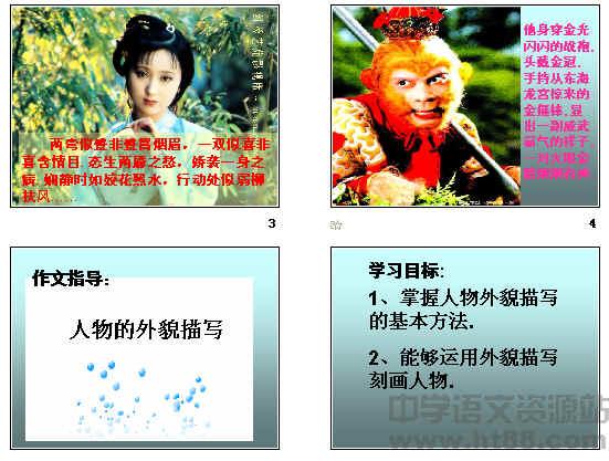 描写人物外貌的词语描写人物外貌的成语: 一表