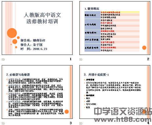 人教版高中语文选修教材培训ppt图片