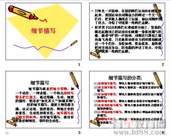 细节作文指导之高中通用ppt描写高中听课记录历史图片