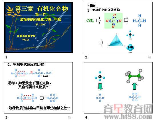 共24张,详细讲解甲烷的空间立体结构,甲烷取代反应的历程,烷烃