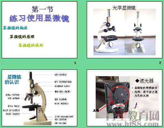 讲述了光学显微镜的结构和功能