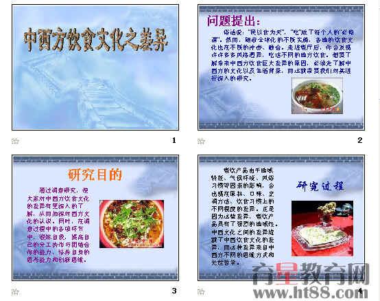 高中研究性学习:中西方饮食文化之差异ppt