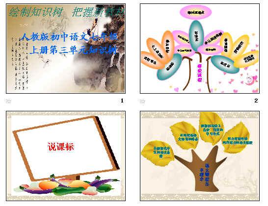 人教版初中语文七年级上册第三单元知识树ppt