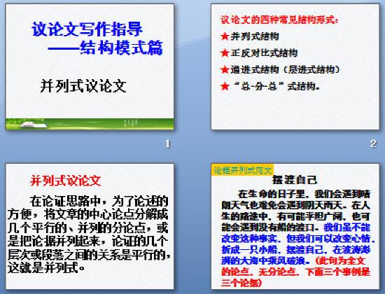 议论文结构模式——并列式ppt1