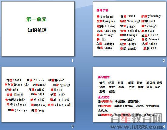 七年级语文上册第一单元知识梳理ppt